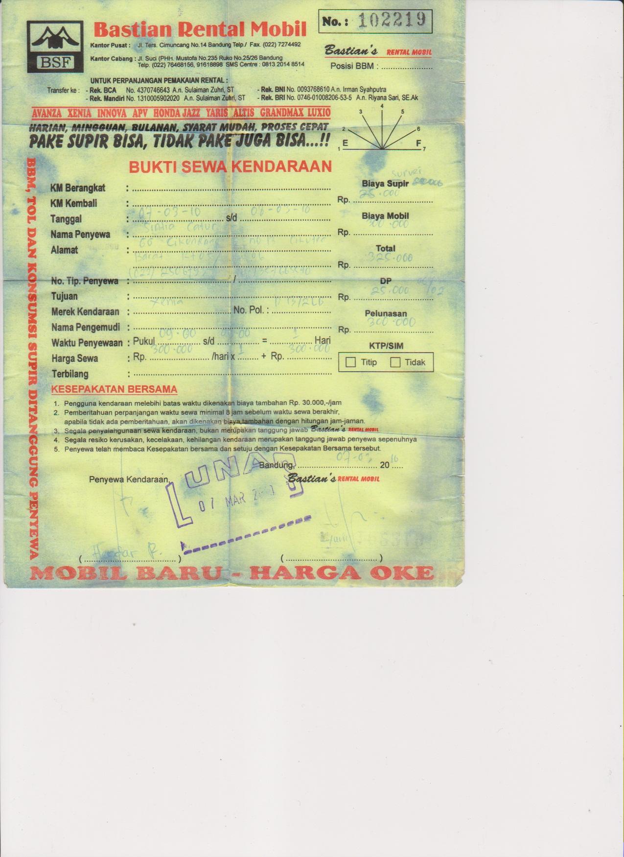 Tampilan Petugas Dokumen Rental